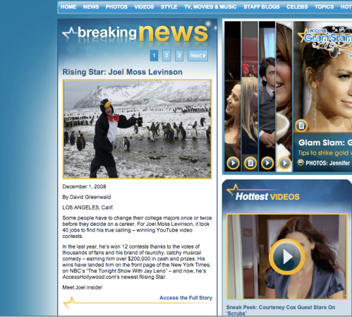 Me, as a penguin, on an entertainment news magainze webpage.