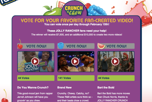 Screenshot of the voting page on JollyRanchers.com